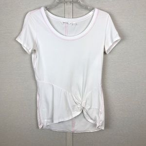 ATHLETA Side Front Knotted White Cotton Tee